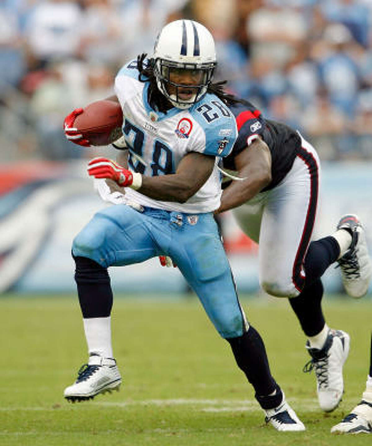 Sept. 20: Chris Johnson (Tennessee) Johnson rushed for 197 yards and two touchdowns in a 34-31 loss to the Texans.