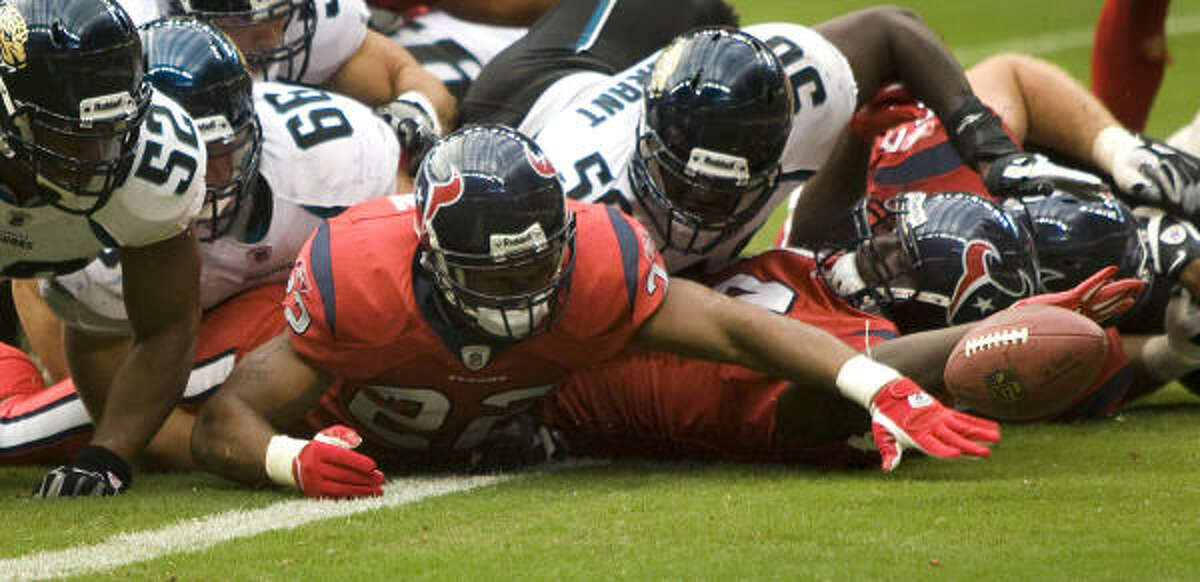 The Texans were in position for a possible game-tying score when running back Chris Brown fumbled near the two-minute mark.