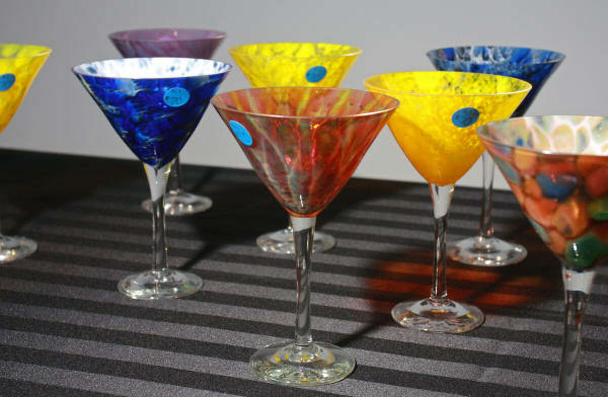 Martini glasses displayed at the Center for Contemporary Craft Martini Madness party.