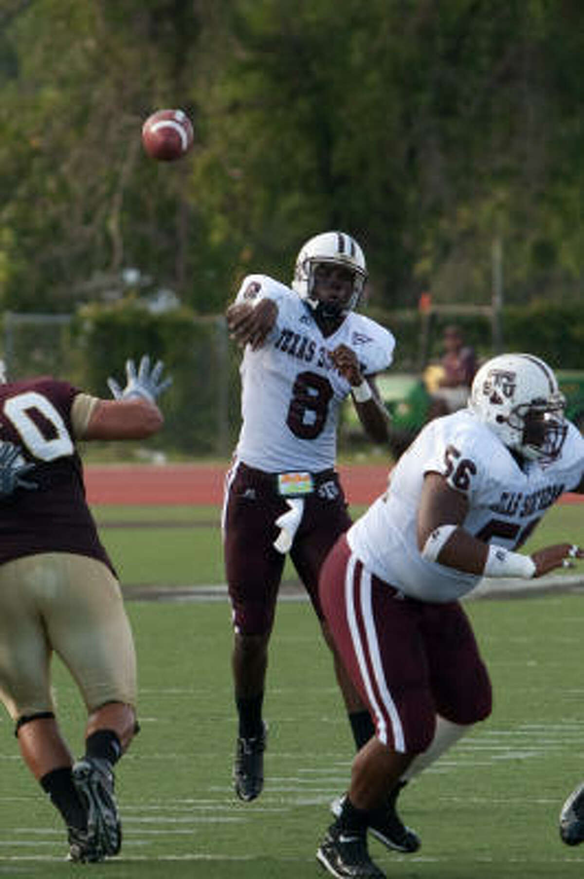 Texas Southern quarterback Arvell Nelson throws a pass during first quarter action against Texas State University.