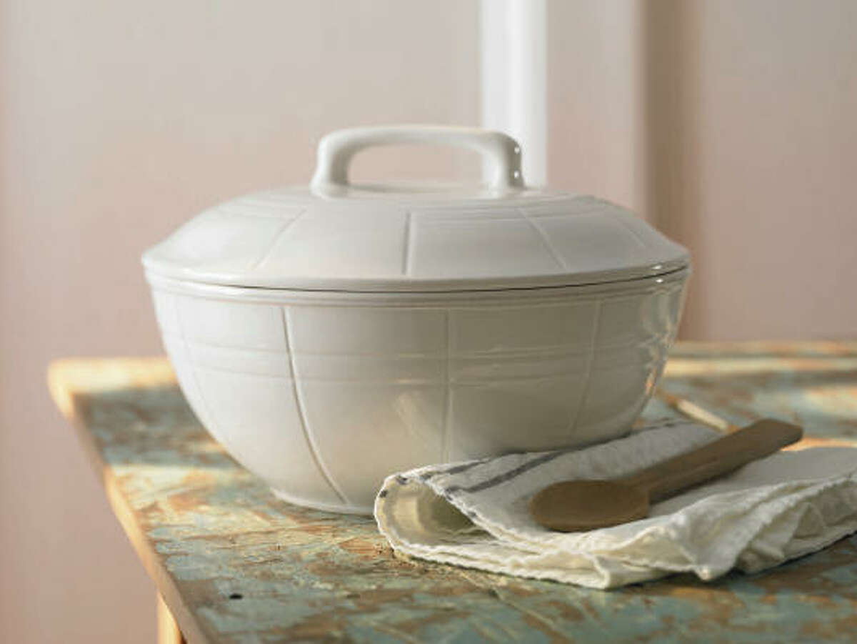Cooper white covered casserole dish for the Country Living Collection, $17.99, www.Kmart.com.
