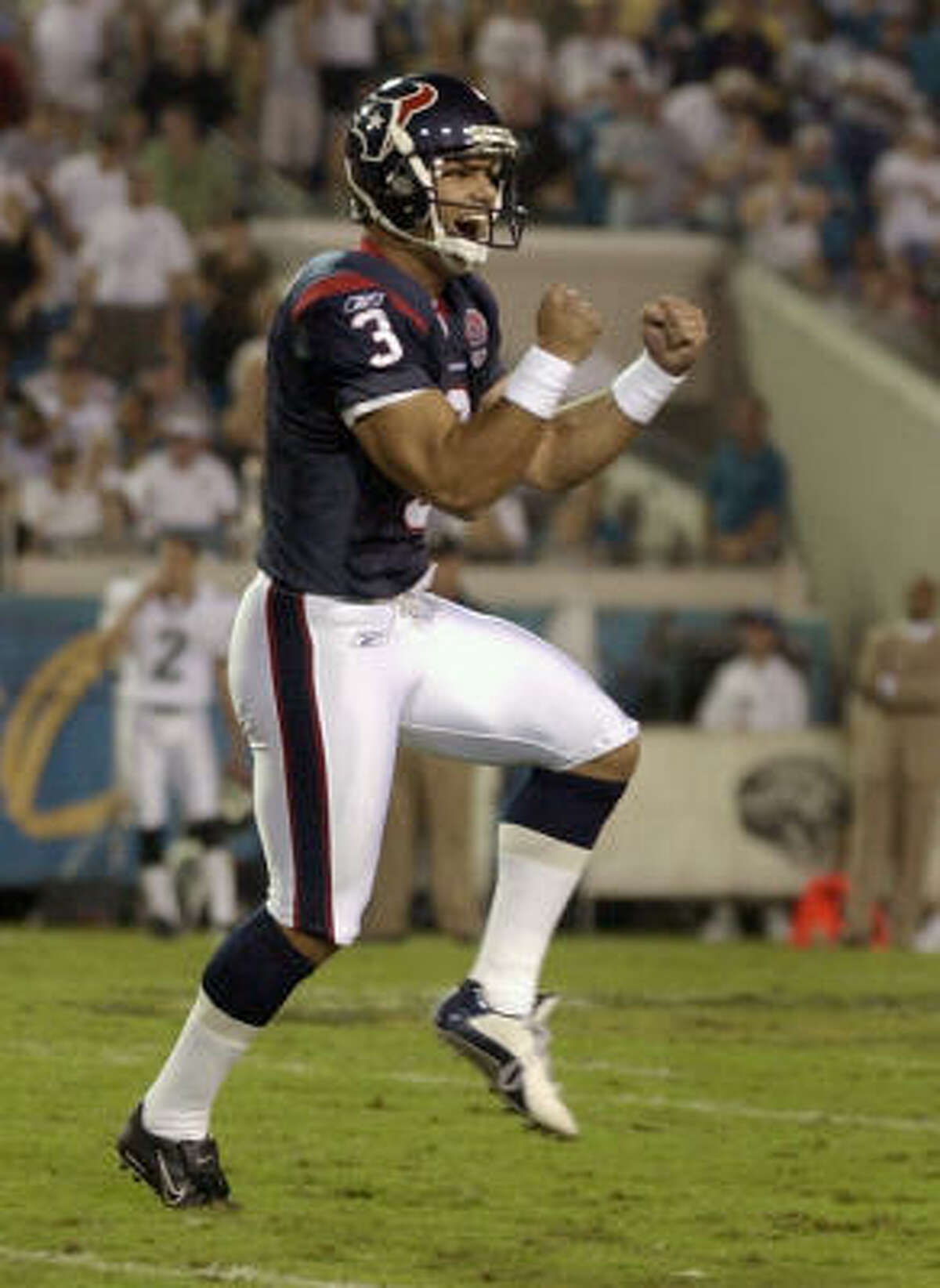 Oct. 27, 2002: Texans 21, Jaguars 19 Kris Brown kicked a 45-yard field goal with 2:16 remaining to give the Texans a 21-19 victory in the first meeting between the two teams.