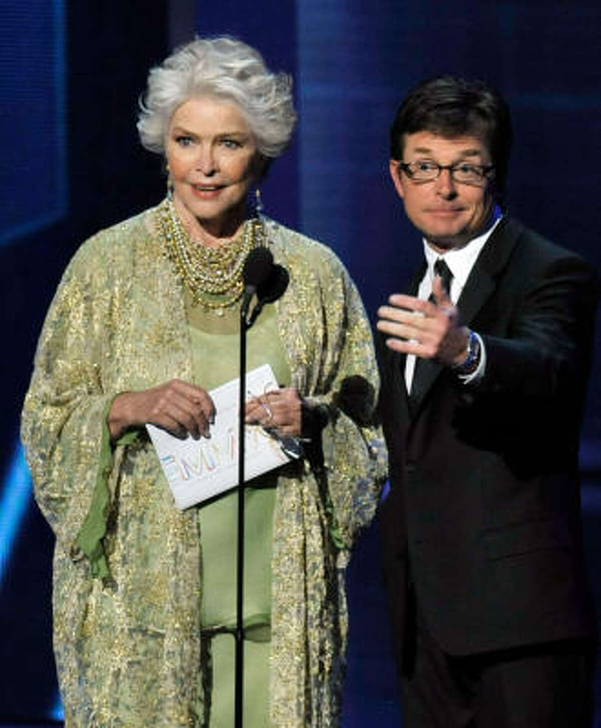 Ellen Burstyn and actor Michael J. Fox present the Outstanding Directing/Writing for a Drama Series.
