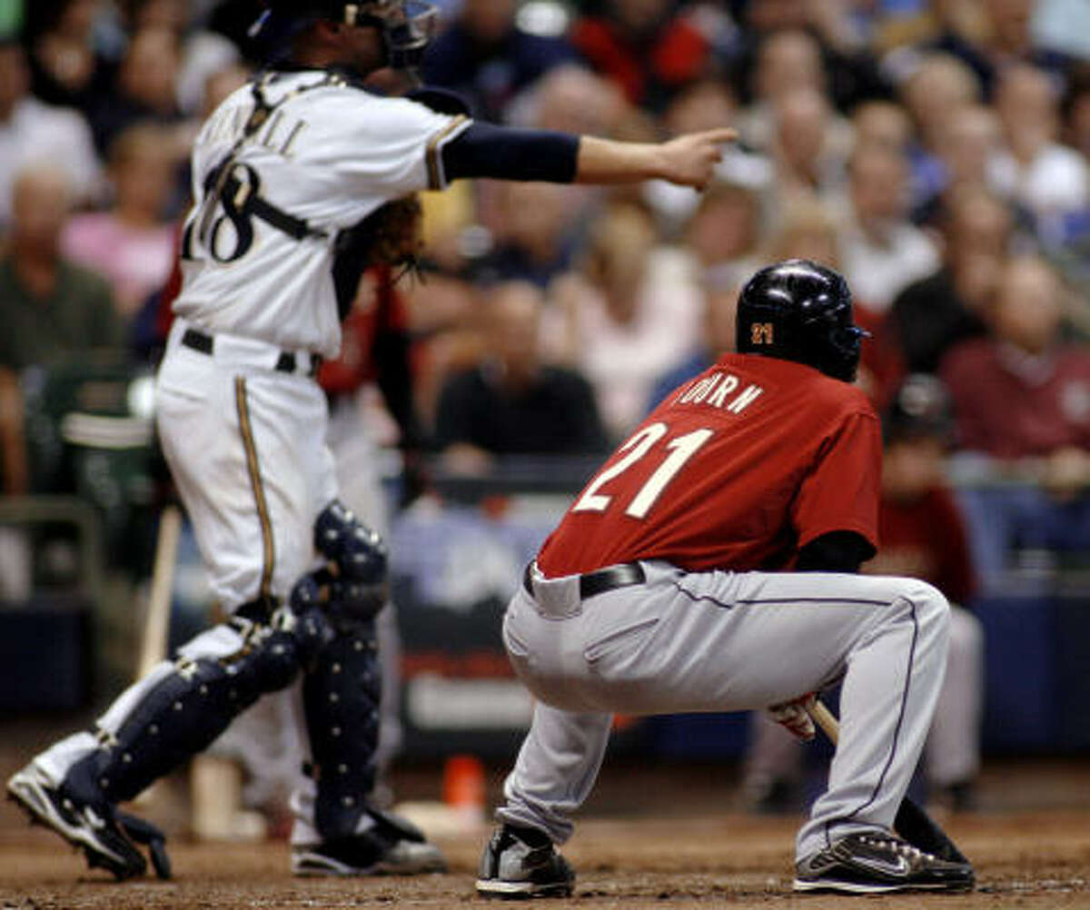 Michael Bourn reacts after getting a called third strike against the Brewers during the sixth inning.