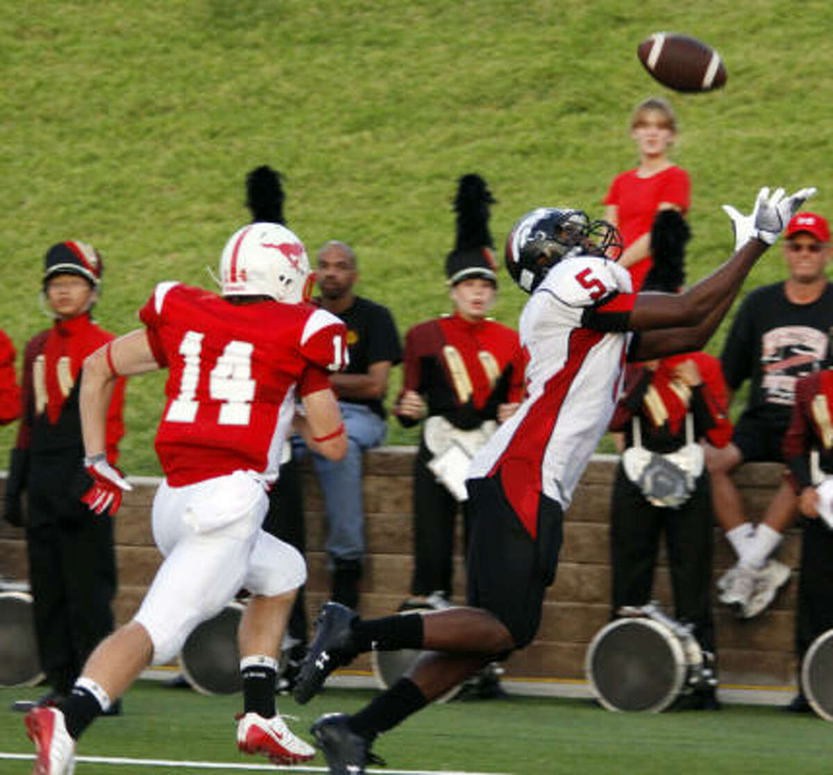Westfield 49, Memorial 10 Westfield wide receiver Christian Jones pulls in one of his two touchdown receptions.