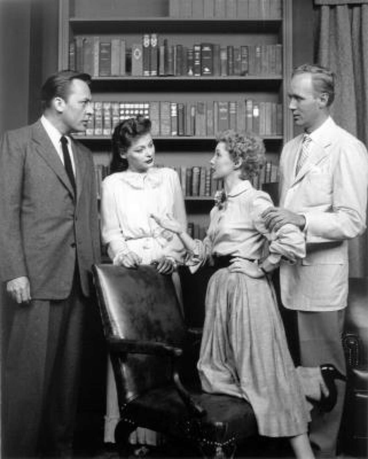From left, Herb Nelson, Ellen Demming, Susan Douglas, and Lyle Sudrow appeared in the premiere TV broadcast of Guiding Light on June 30, 1952.
