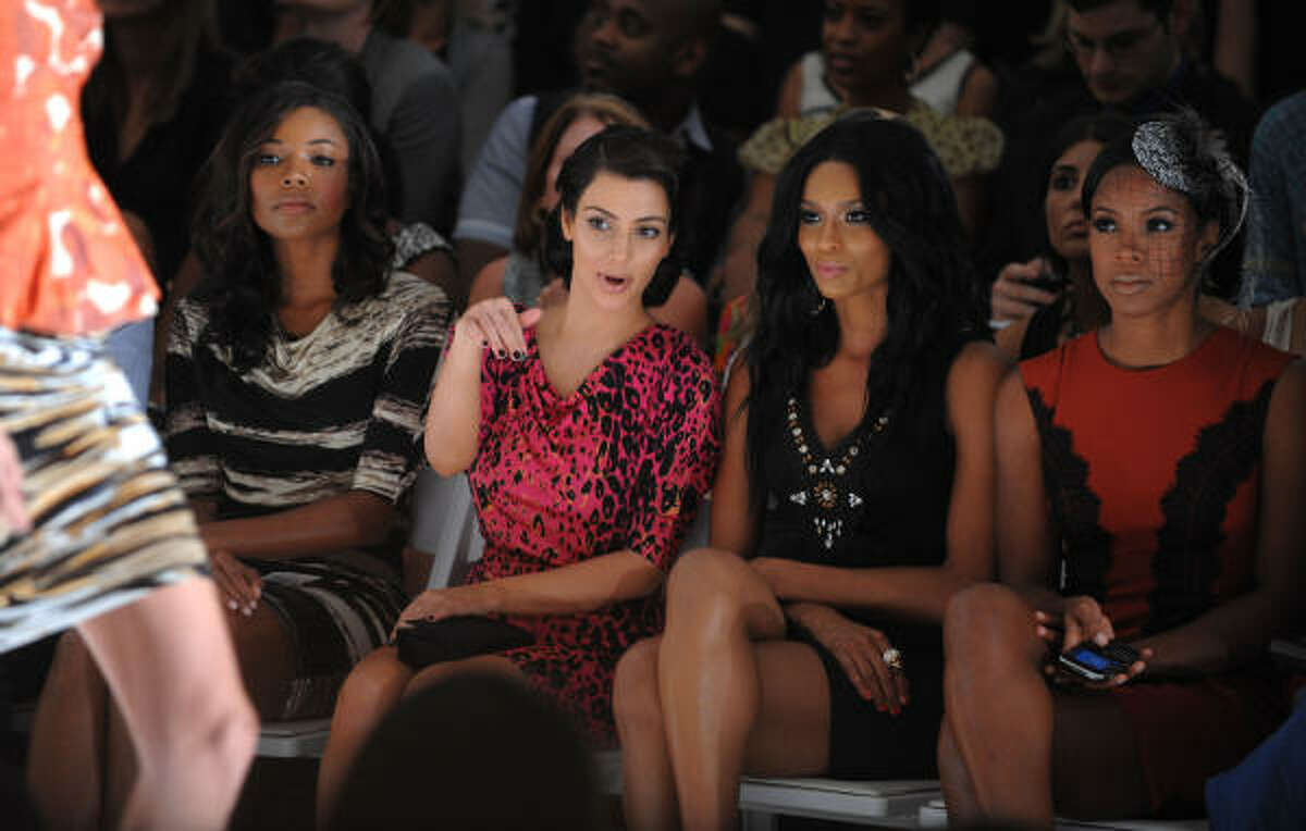 Actress Gabrielle Union, from left, reality star Kim Kardashian, singer Ciara and Kelly Rowland attend the Tracy Reese Spring 2010 collection.