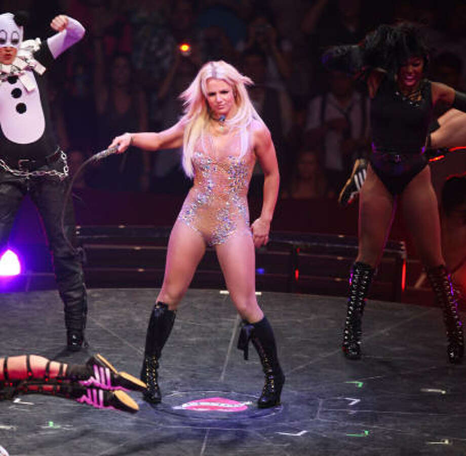 Britney Spears performs at Toyota Center during The Britney Spears Circus tour on Wednesday. Read a review of the show here. Photo: Billy Smith II