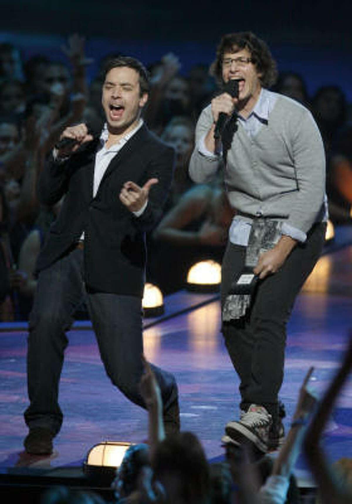 Jimmy Fallon, left, and Andy Samberg present at the VMAs.