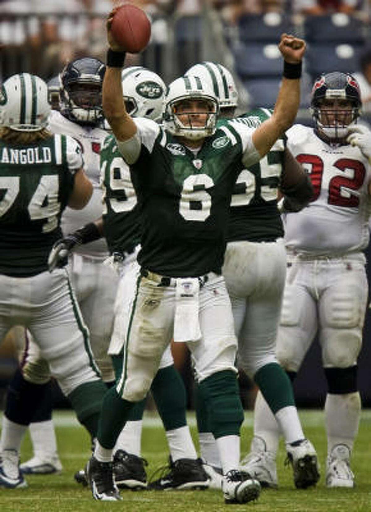 New York Jets quarterback Mark Sanchez celebrates as time expires on the Jets 24-7 victory.