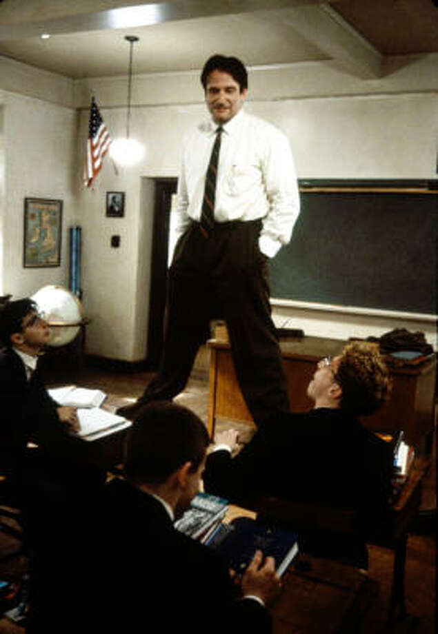 "Professor Keating, ""Dead Poets Society""The boarding school English teacher had the class rip the pages out of their textbook. Yes, that was a gross waste of education funds, but at it's core, it was the outside-the-box teaching that made him unique.Pictured: Robin Williams teaching a class in a scene from the film 'Dead Poets Society', 1989. Photo: Touchstone Pictures"