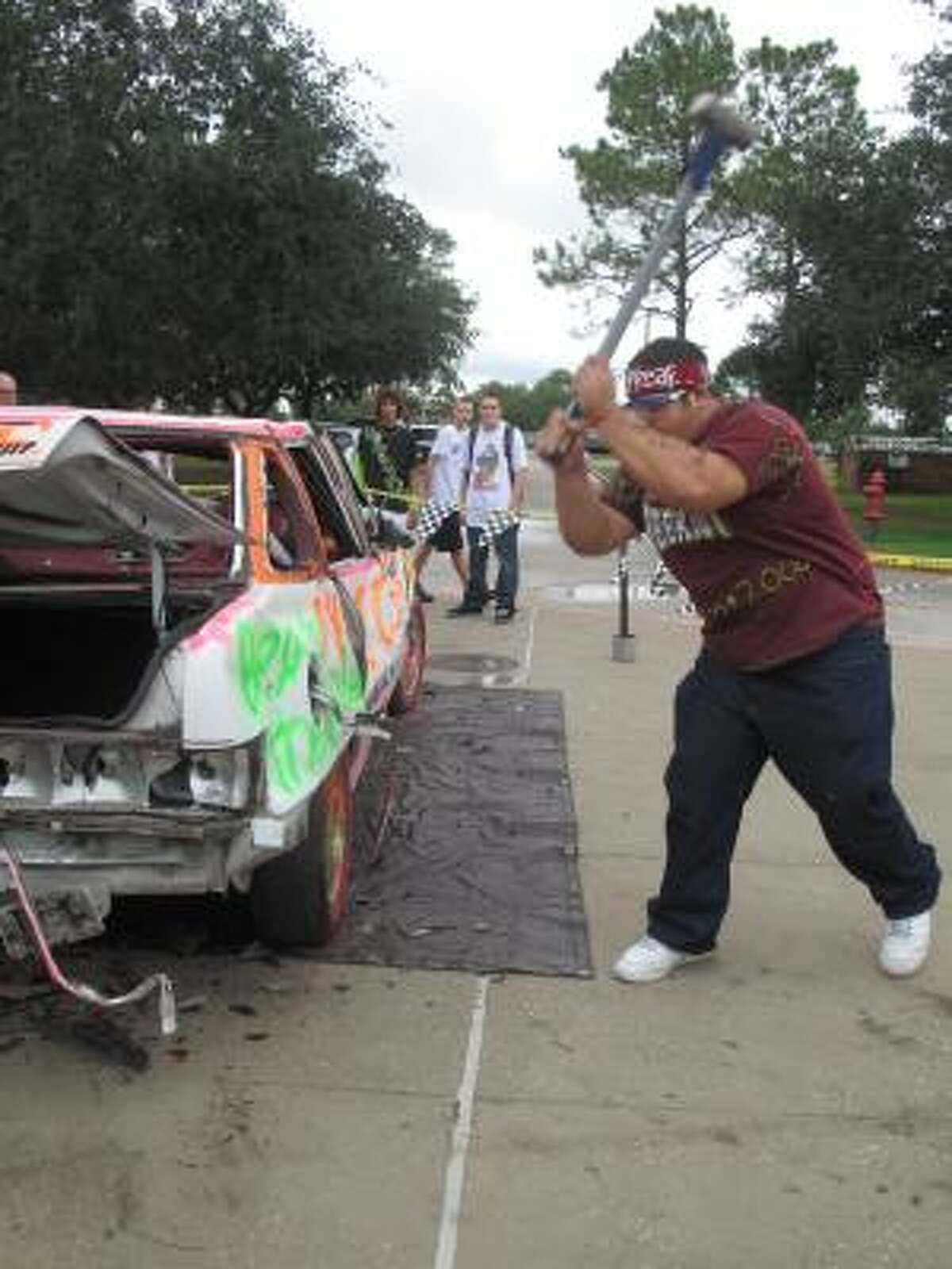 The car smash is always a popular option at the carnival for building spirit.