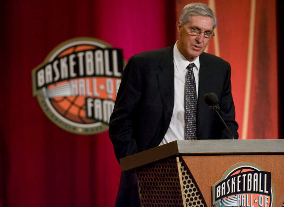 Jazz coach Jerry Sloan delivers his acceptance speech during his induction into the Naismith Memorial Basketball Hall of Fame at Symphony Hall in Springfield, Massachusetts on Friday.