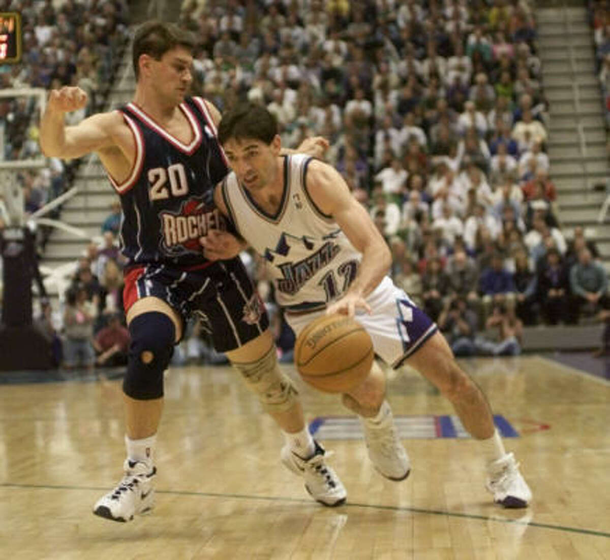John Stockton Stockton played point guard for the Utah Jazz for 19 seasons. He averaged 13.1 points and 10.5 assists a game for his career. He is the NBA's all-time total assists leader with 15,806.