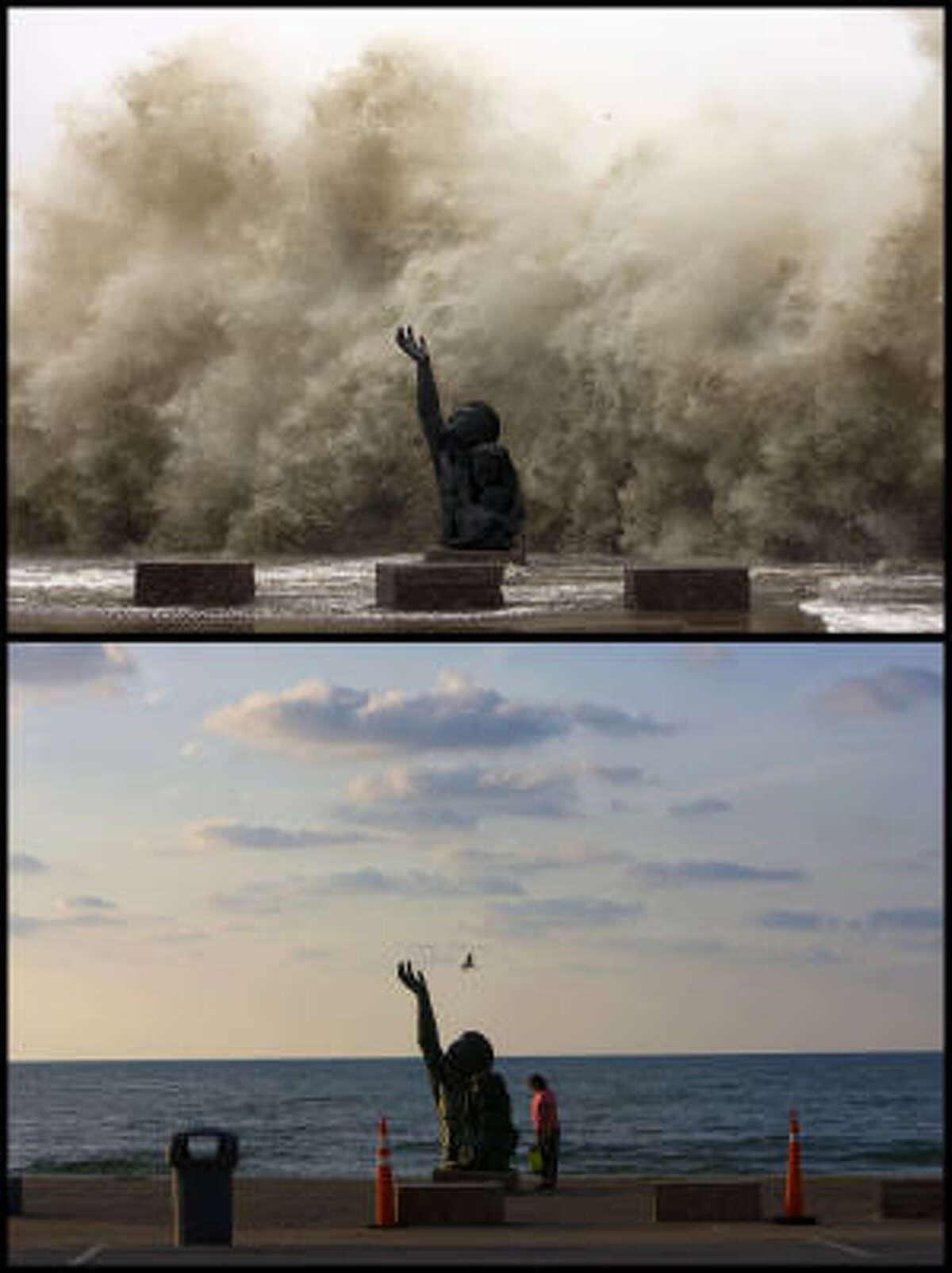 """""""Estaba pensando en Dios,"""" dice Alma López mientras observa la estatua un año después, """"porque era como si estuviera clamando a Dios. Es impresionante."""" La figura ha cobrado aún más significado tras el paso de Ike."""