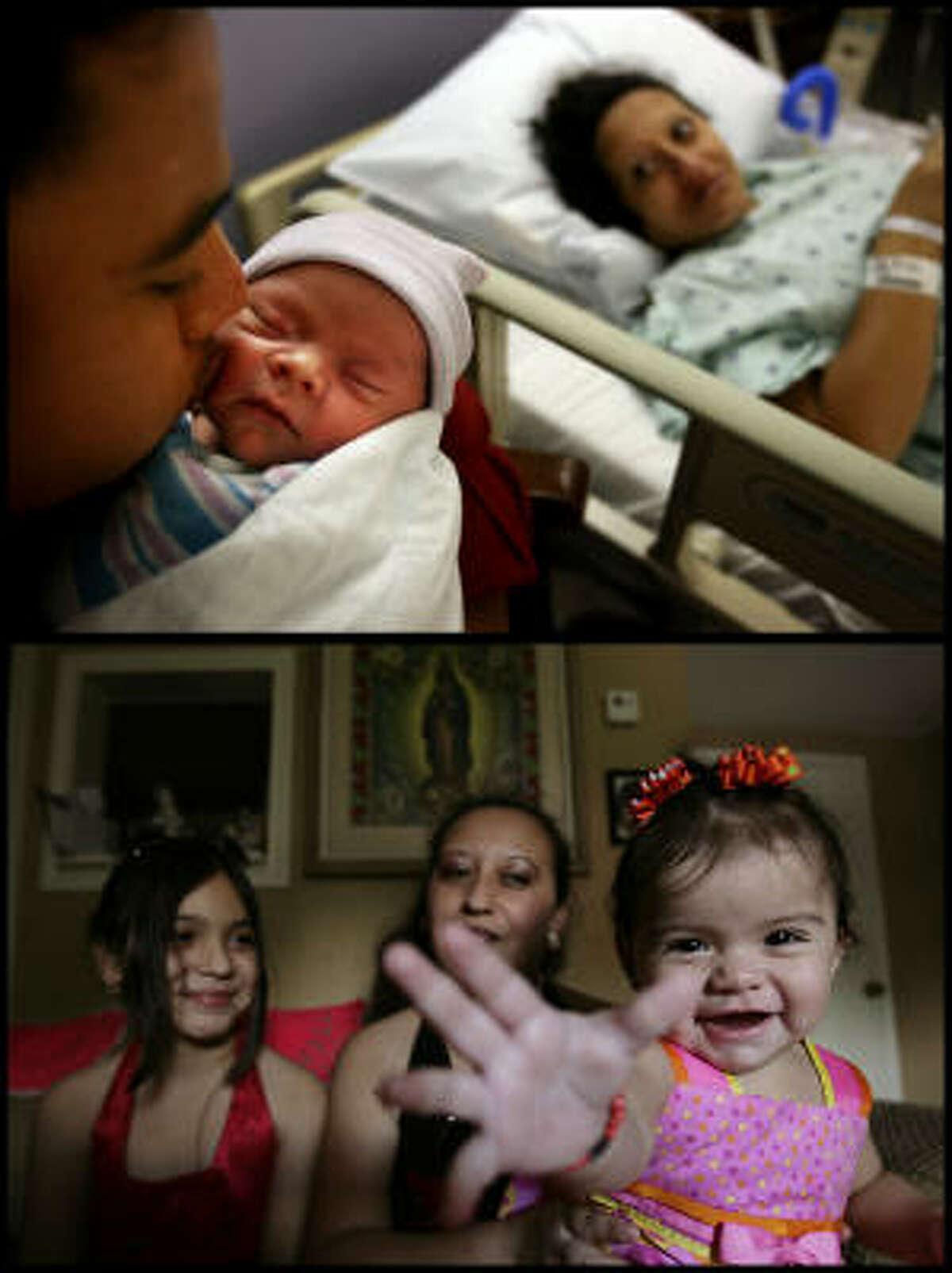 El primer bebé que nació en Galveston después del huracán fue Jennifer Ramírez-Hernández, el 13 de octubre; en la foto de la izquierda es mimada por sus padres.