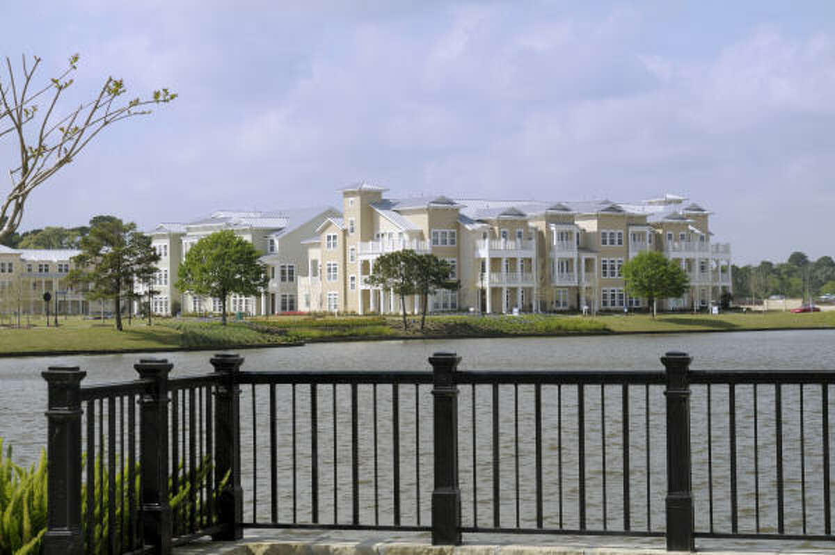 East Shore, the Garden District of The Woodlands Town Center, borders 200-acre Lake Woodlands.