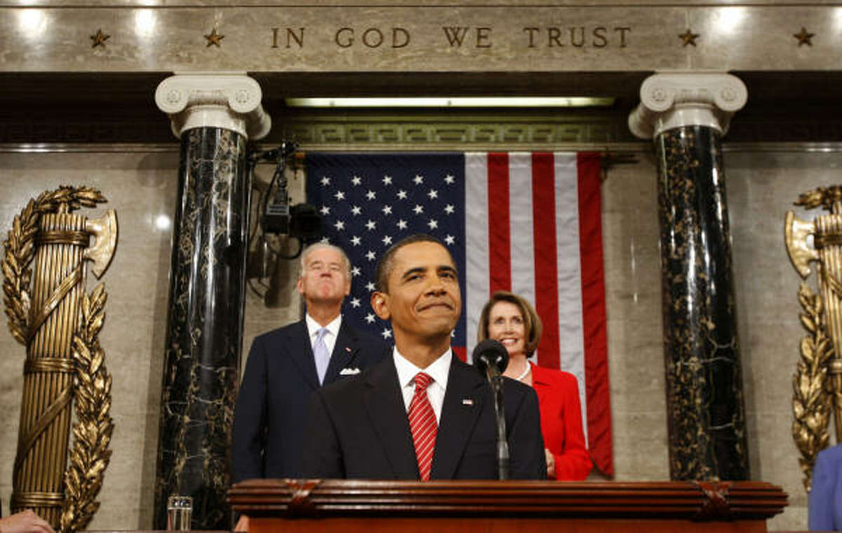 U.S. President Barack Obama speaks during a joint session of Congress with U.S. Vice President Joseph Biden, left, and House Speaker Nancy Pelosi, a Democrat from California, right, in Washington, D.C.,on Wednesday.