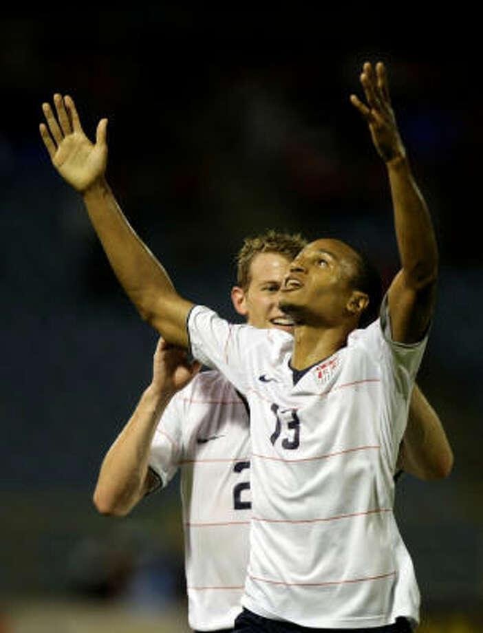 United States 1, Trinidad and Tobago 0The Dynamo's own Ricardo Clark (13) celebrates scoring the game-winning goal against Trinidad and Tobado. Photo: Fernando Llano, AP