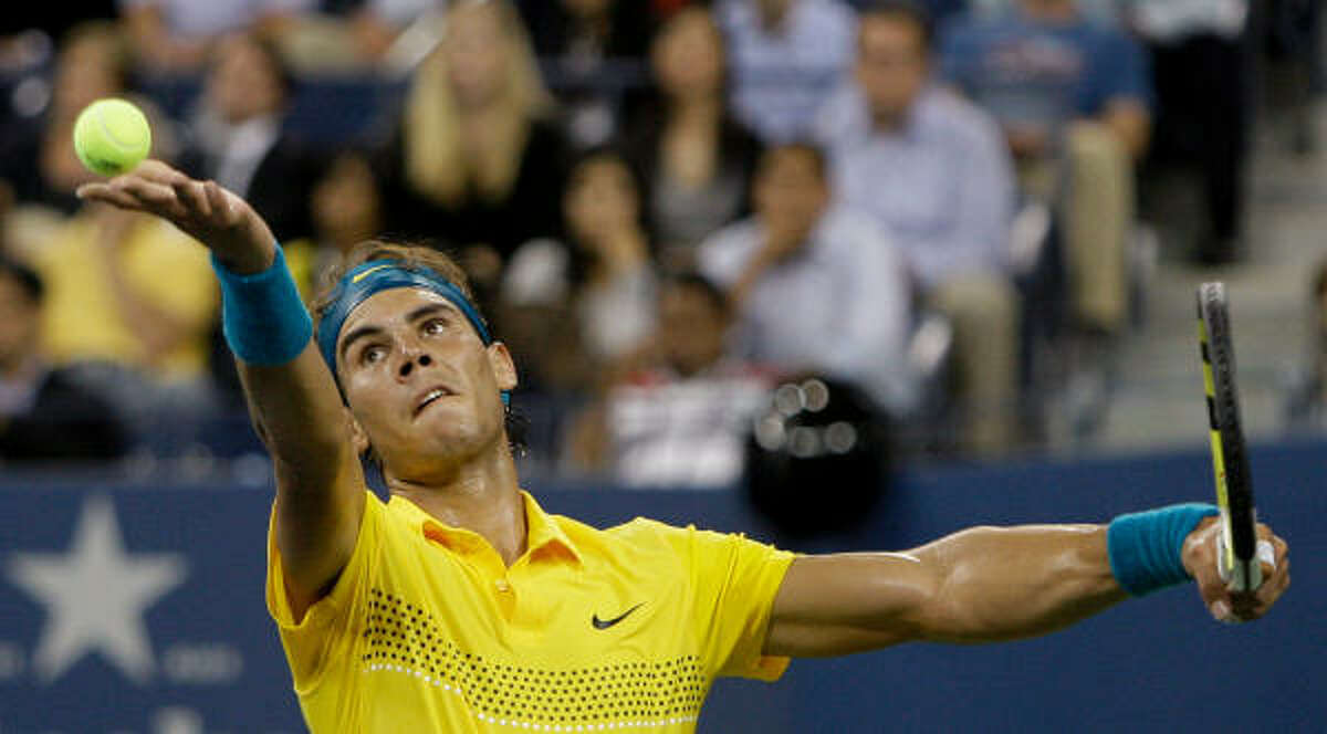 Tuesday, Sept. 8: Day 9 RafaelNadal, of Spain, serves to GaelMonfils, of France, during the fourth round of the U.S. Open.