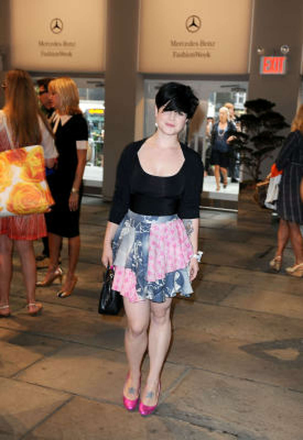 Kelly Osbourne is notorious for fashion no's, including this patchwork skirt.