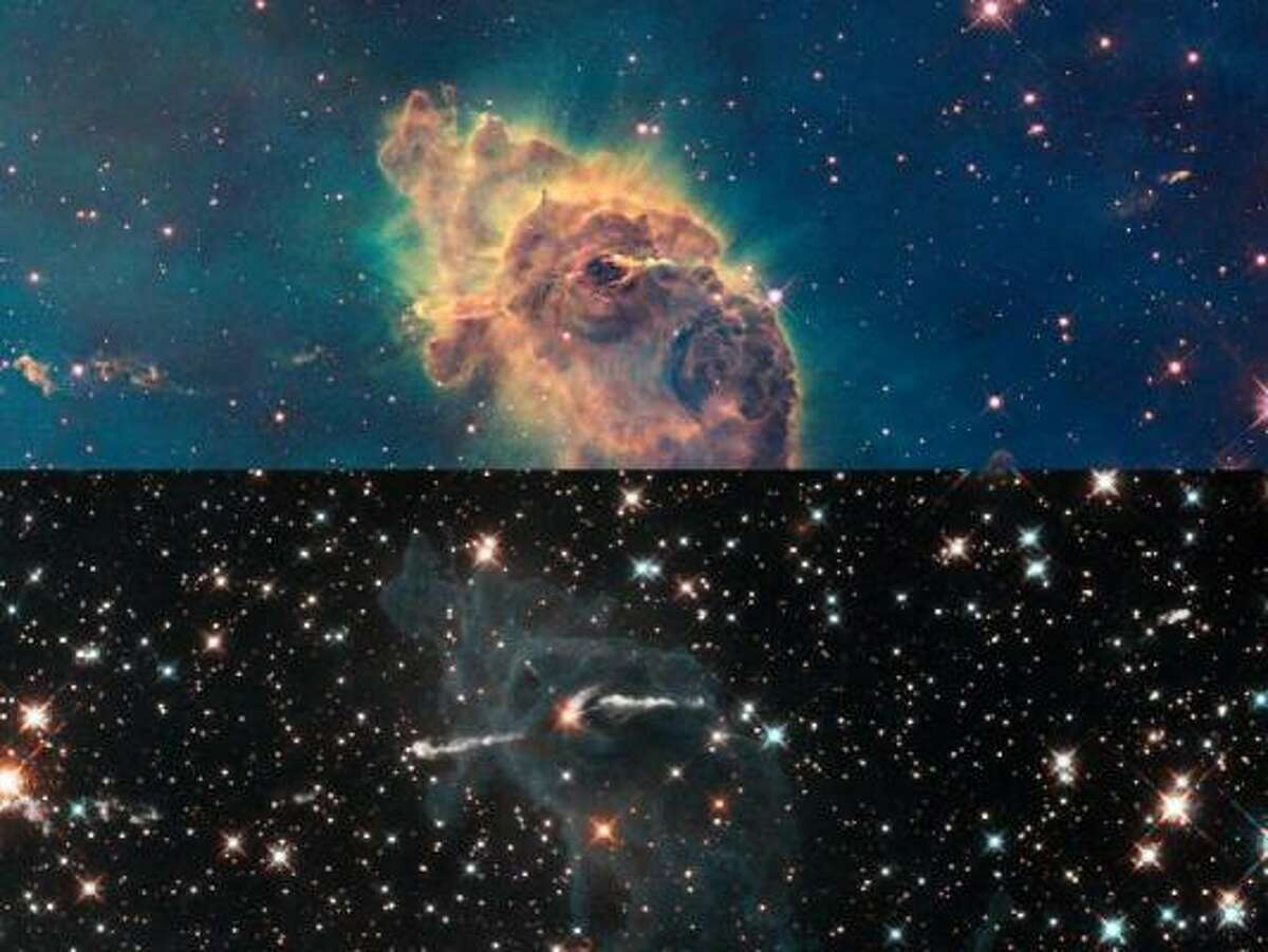 Stars Bursting to Life in Chaotic Carina Nebula - These two images of a huge pillar of star birth demonstrate how observations taken in visible and in infrared light by NASA's Hubble Space Telescope reveal dramatically different and complementary views of an object.