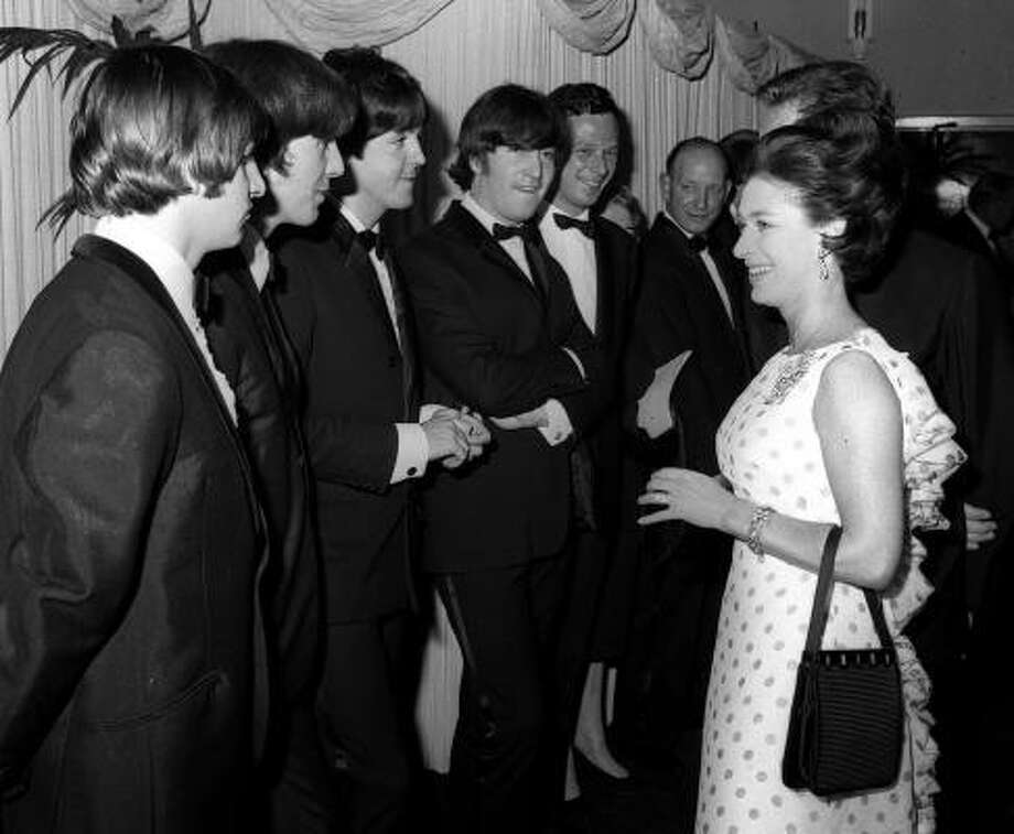 Princess Margaret meets The Beatles at the London Pavilion for the world premiere of The Beatles' second film Help in 1965. Photo: AP