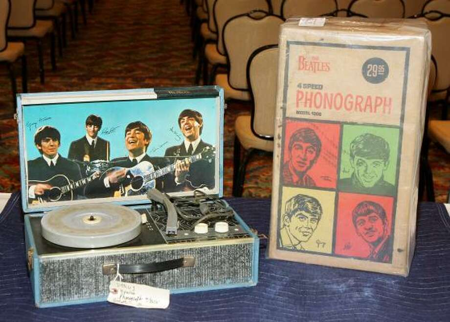 A 1964 Beatles phonograph with its original box. Photo: Getty Images