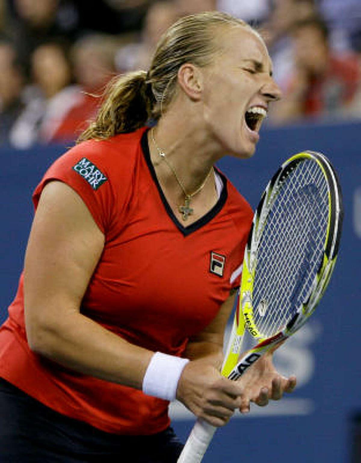 Svetlana Kuznetsova of Russia yells after losing a point to Caroline Wozniacki of Denmark.