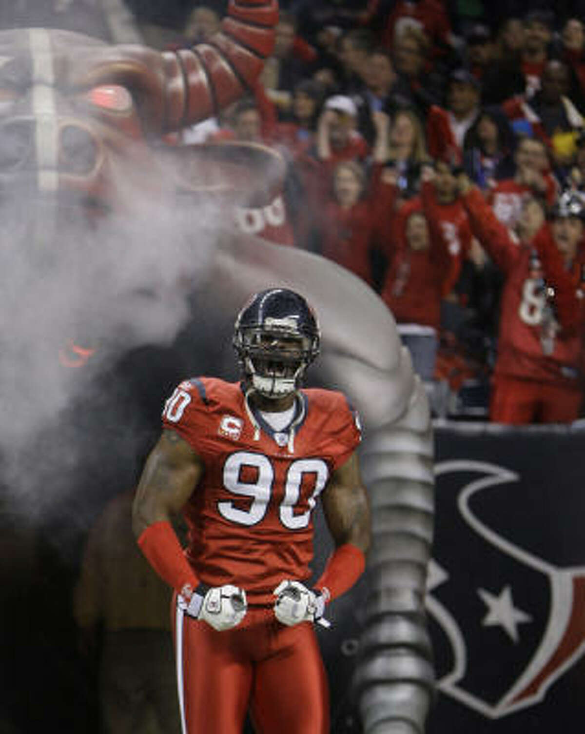 Texans defensive end Mario Williams takes the field before the Texans face the Jacksonville Jaguars at Reliant Stadium.