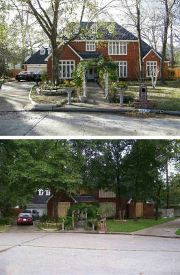 The top photo was taken last fall. The bottom photo was taken on the Friday before the storm. The homeowner estimates damage at $40,000. Photo: TaxesnotTexas