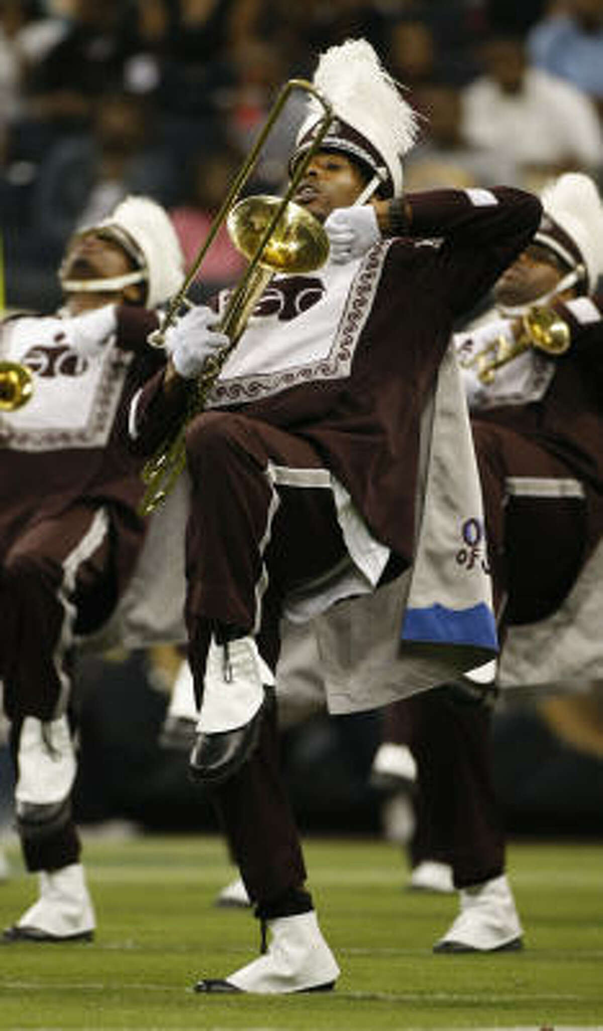 The TSU Ocean of Soul marching band takes the field for the halftime show during the Labor Day Classic.