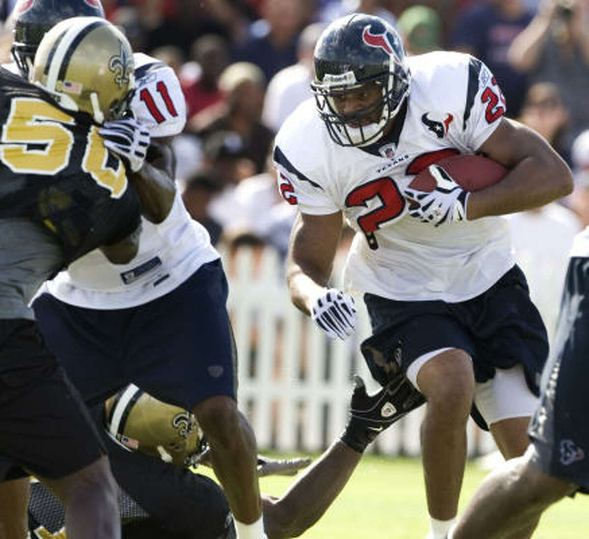Running backs (4) They're in: Steve Slaton, Chris Brown (pictured), Ryan Moats, Andre Hall. They're out: Arian Foster.