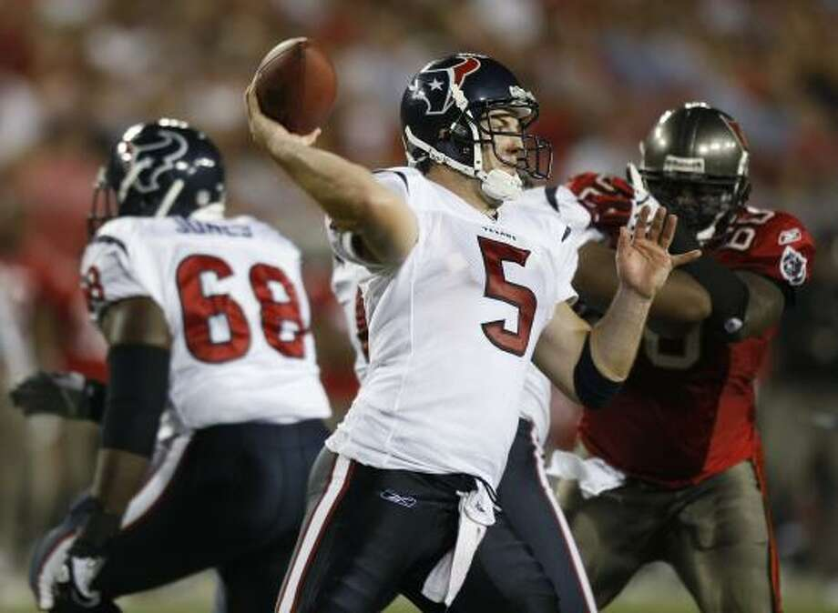 Texans quarterback Rex Grossman, who returned from a hamstring injury, completed 9-of-16 for 197 yards and two touchdowns against the Buccaneers. He led the Texans on four scoring drives. Photo: Chris O'Meara, AP