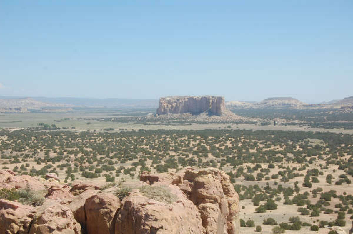 The view from the Acoma Pueblo mesa looks out over the beautiful desert.