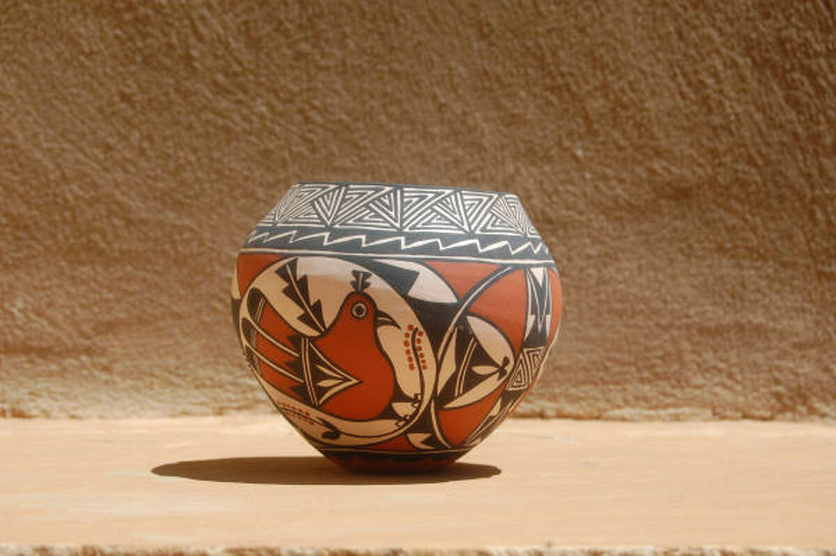 Clay pots, like this one made by Caroline Lucario, are available for purchase at Acoma.
