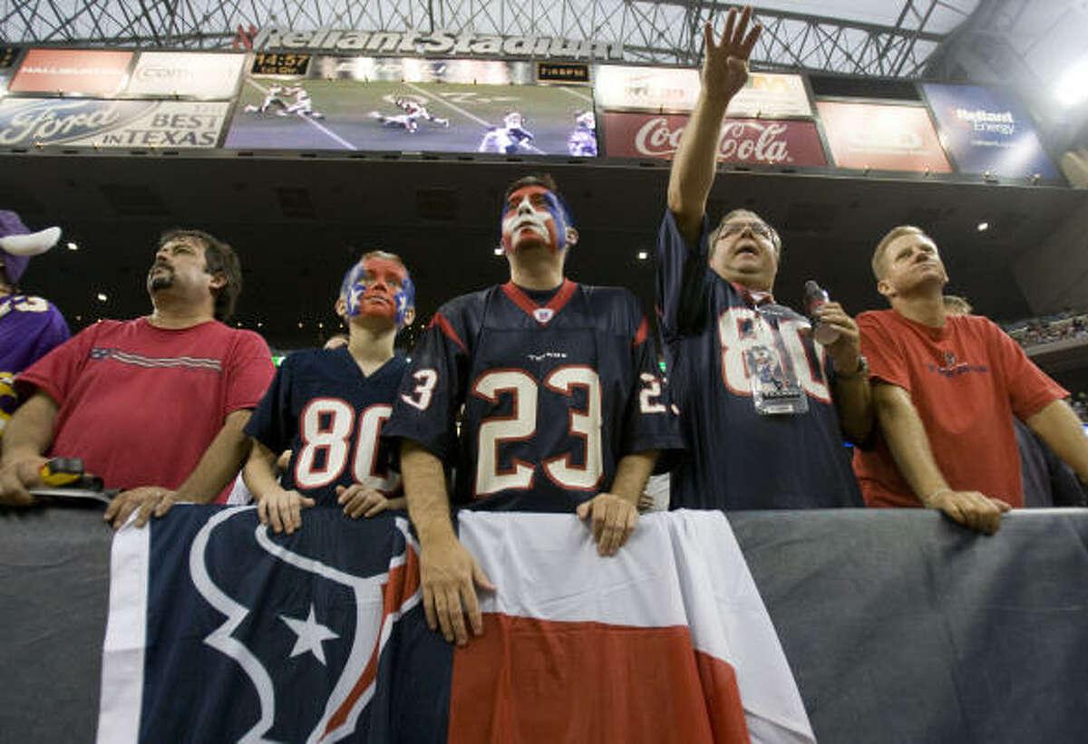 Preseason: Minnesota (Aug. 31) Texans fans watch the opening kickoff of a preseason game against the Minnesota Vikings at Reliant Stadium.