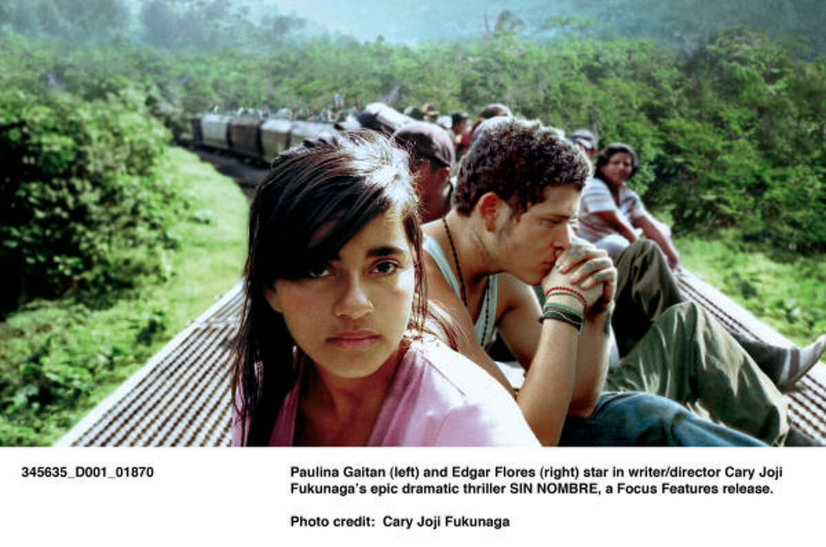 Paulina Gaitan (left) and Edgar Flores (right) star in thriller Sin Nombre.