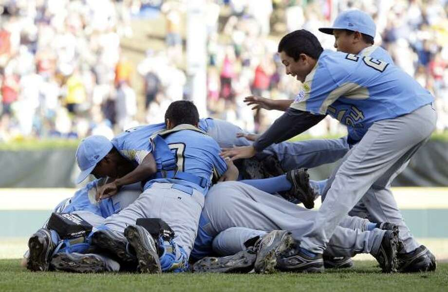 Championship game: Chula Vista, Calif. vs. Taoyuan, TaiwanChula Vista, Calif., players celebrate after a 6-3 win over Taoyuan, Taiwan. Photo: Carolyn Kaster, AP