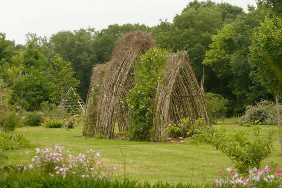 This intriguing 41-foot-long arbor at Elizabeth and Jerald Mize's Peaceable Kingdom near Washington-on-the-Brazos is crafted of cedar and yaupon over rebar. The center arch is nearly 15 by 10 feet, flanked by 10- and 11-foot- tall arches. More: Submit your garden photos | Houston Plant Database | HoustonGrows.com