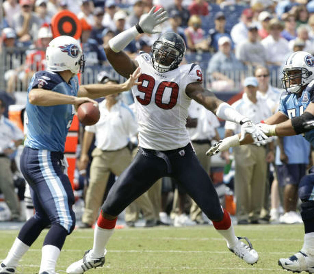 WEEK 2: Texans at Titans Sept. 20, noon, LP Field Prediction: Titans 17, Texans 13 Record: 1-1 McClain: In a dirty, nasty game, Texans knock out Titans QB Kerry Collins, but backup Vince Young throws the winning touchdown pass.