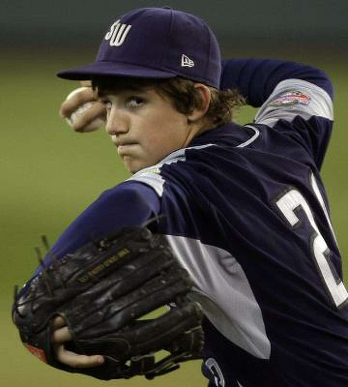 Aug. 26 San Antonio, Texas starting pitcher Steven Cardone throws during the first inning of their Little League World Series United States semifinal. San Antonio, Texas won the game 4-1.