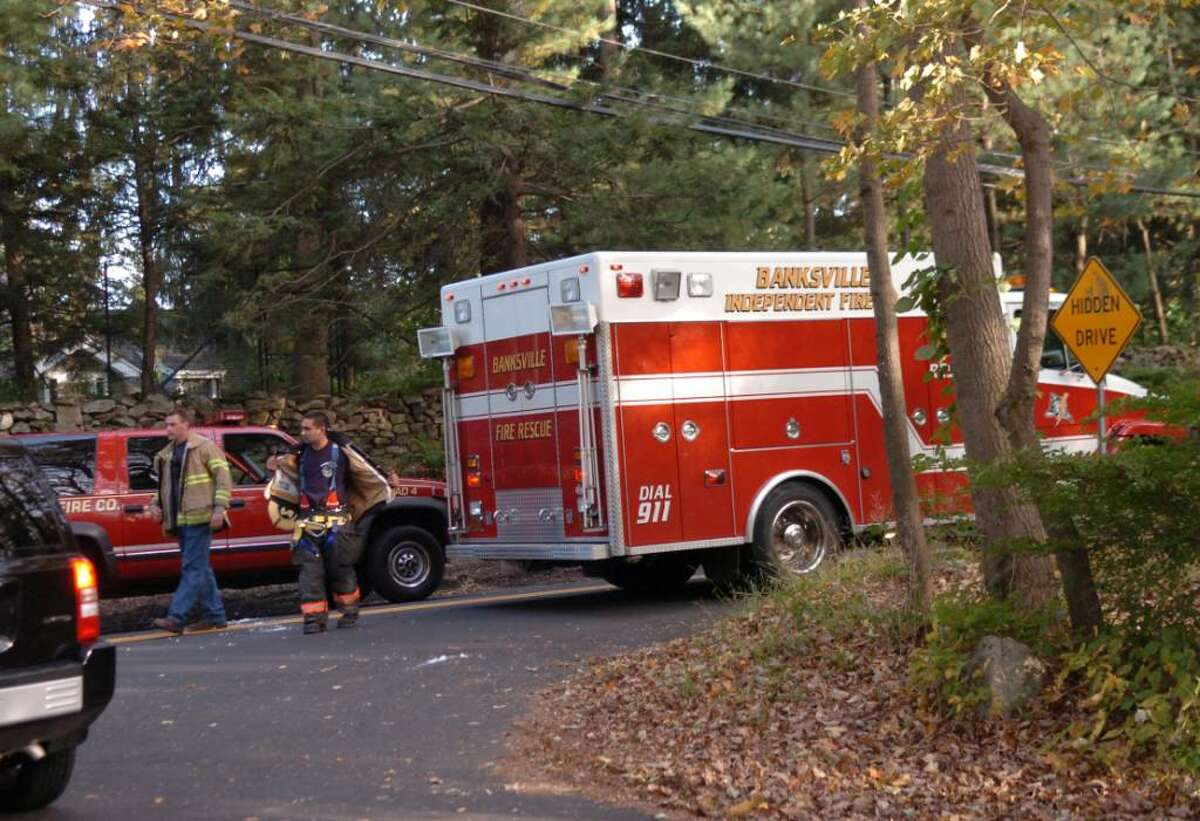 Greenwich, Oct. 8, 2009. The fatal accident between a motorcycle and a vehicle was on Riversville Road which was closed at Hycliff Road.