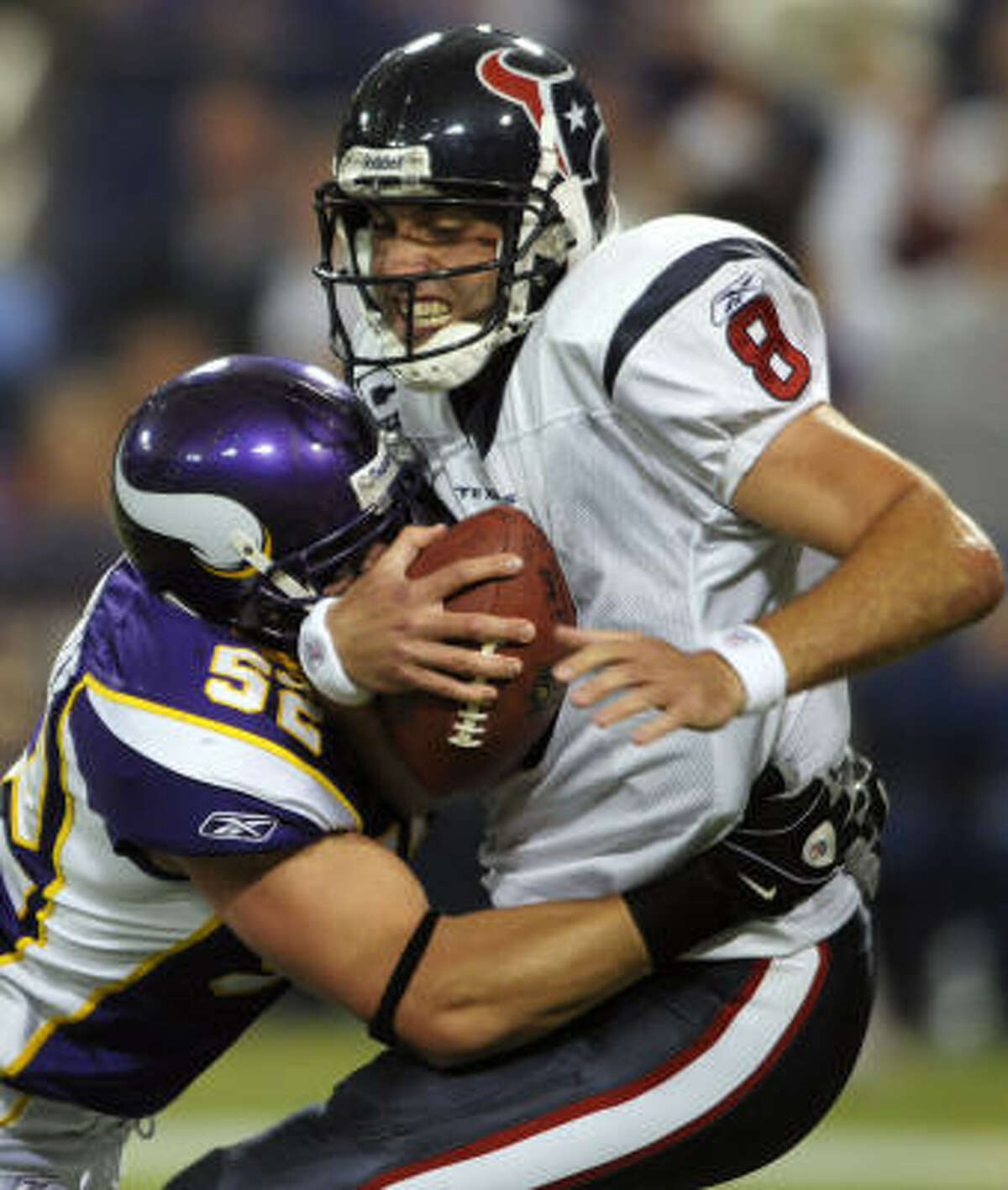 Matt Schaub , 2007-08: He was traded to the Texans from the Falcons in 2007. Schaub started in 11 games in 2007 and seven games in 2008. Record with the Texans: 7-12.