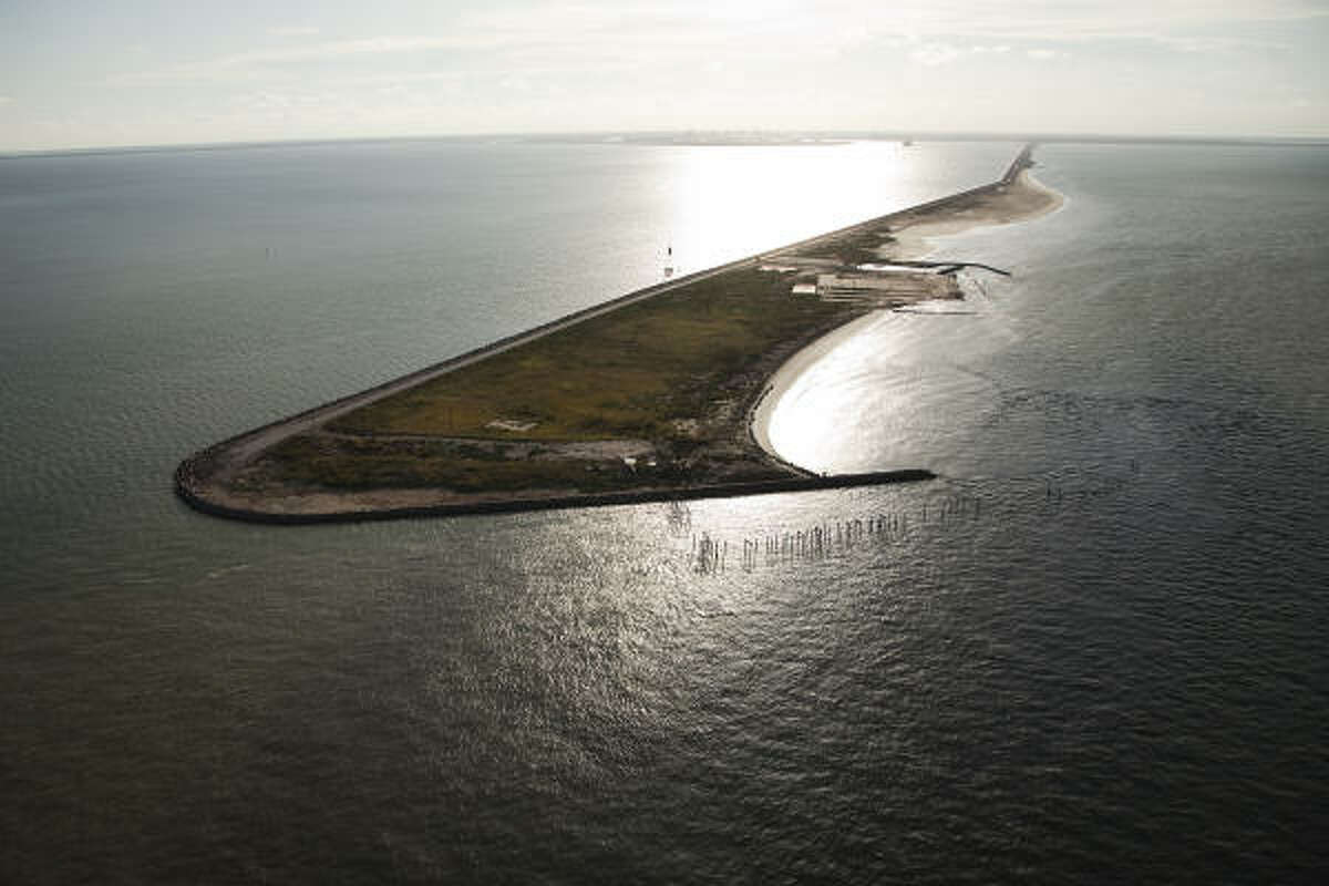 The Texas City Dike jutting into Galveston Bay nearly one year after Hurricane Ike.