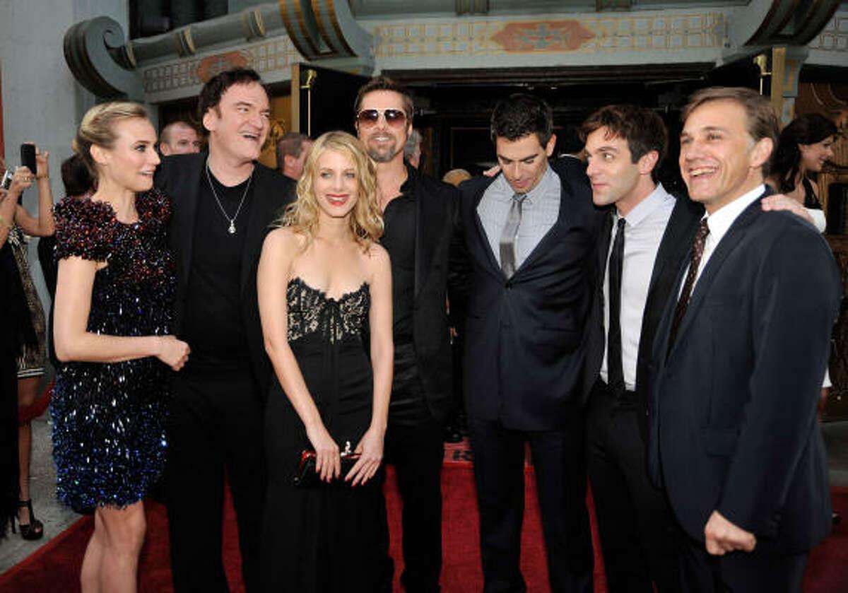 (L-R) Actor Diane Kruger, director/writer Quentin Tarantino, Melanie Laurent, Brad Pitt, Eli Roth, B.J. Novak, and Christoph Waltz