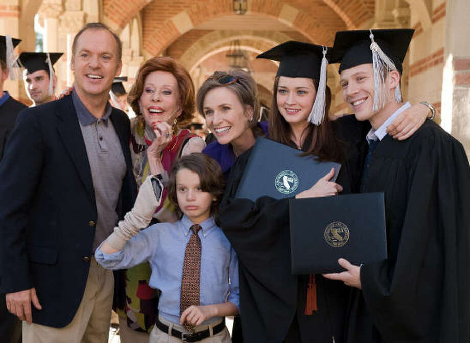 "L-R: Michael Keaton, Carol Burnett, Bobby Coleman, Jane Lynch, Alexis Bledel and Zach Gilford in ""Post Grad."" Click here to read the interview with Alexis Bledel. Photo: Suzanne Tenner"