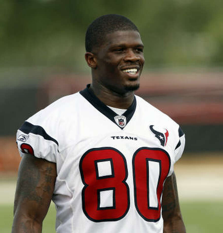 Andre Johnson has established himself as one of the best receivers in the NFL wearing the same No. 80 that Jerry Rice wore. More on Texans numbers. Photo: Bob Levey, Getty Images