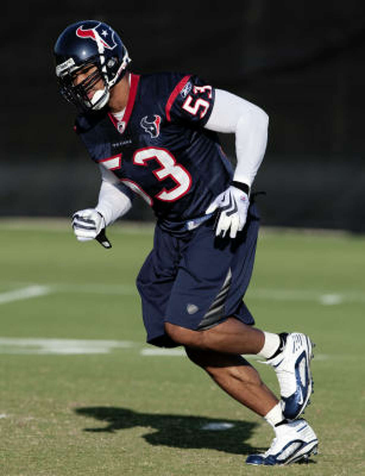 Newly signed free agent linebacker Khary Campbell runs through drills.
