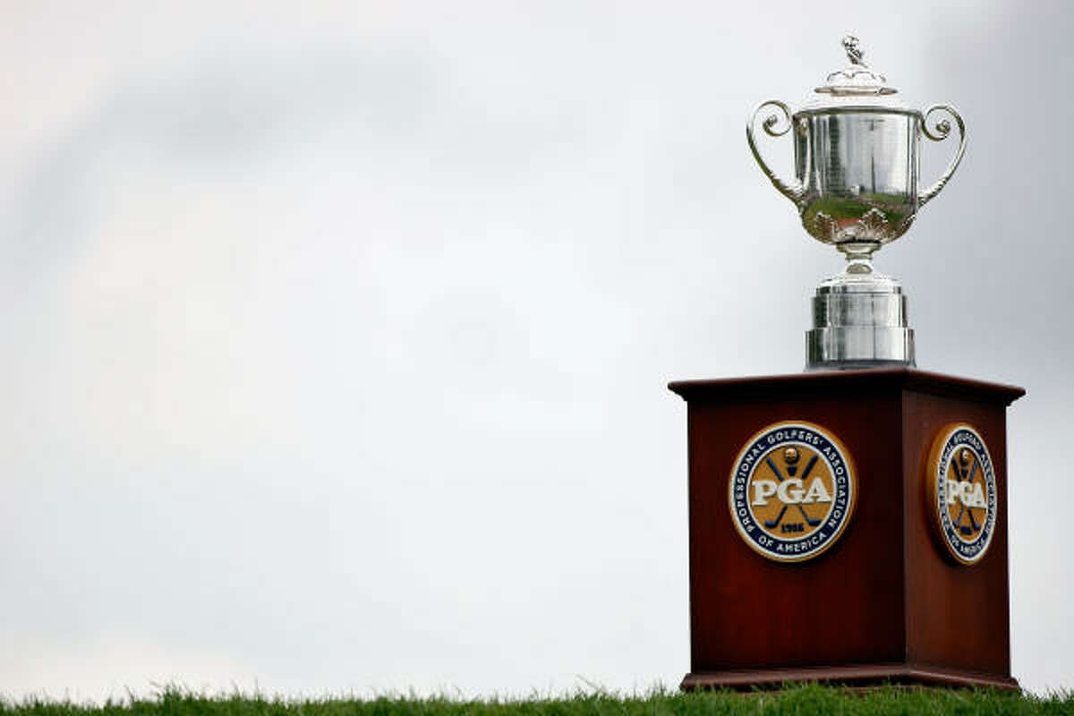 The Wanamaker Trophy is seen on the first hole during the final round of the 91st PGA Championship at Hazeltine National Golf Club.